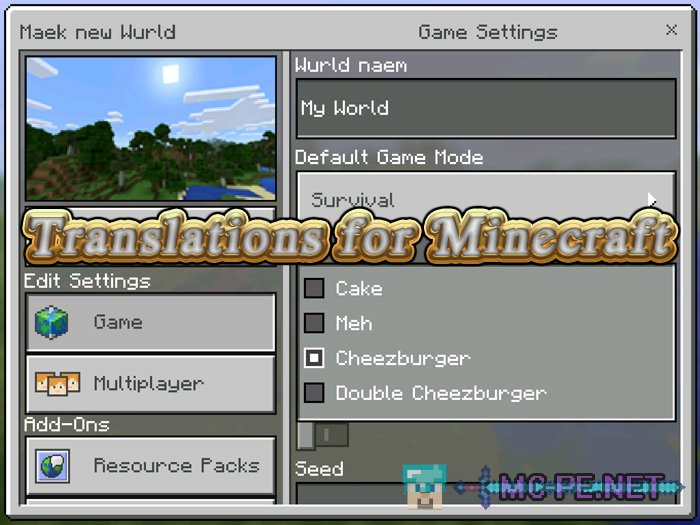 Translations for Minecraft
