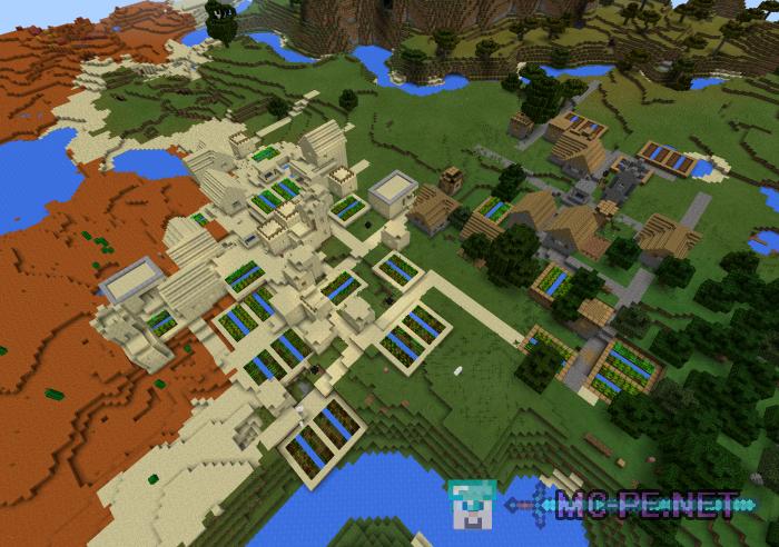 Тройная деревня между четырех биомов