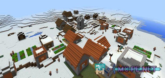 Деревня саванны в снежном биоме или три поселения.