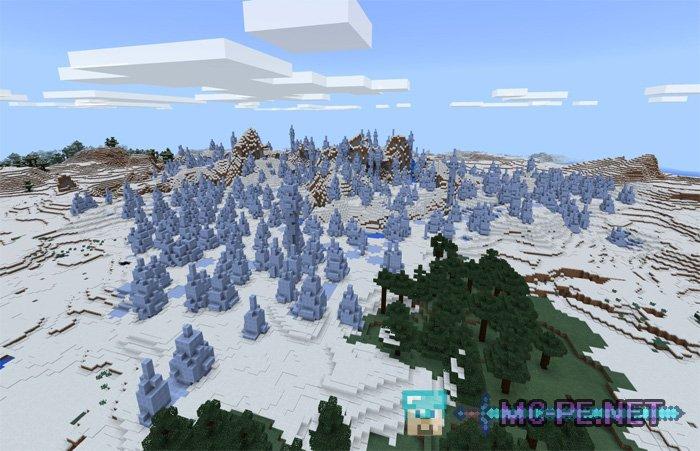 Деревня, иглу и биом ледяных шипов