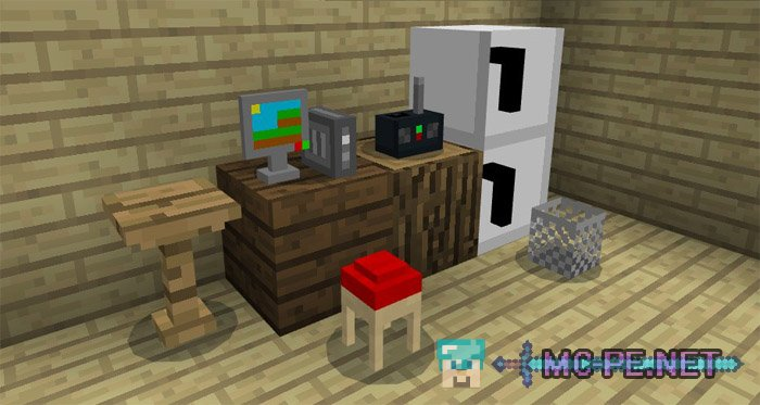 Mine furniture addons mcpe minecraft pocket edition for Decoration mod mcpe 0 14 0
